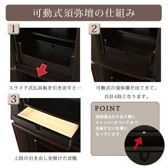 【花椿(はなつばき)黒檀13×41号】可動式須弥壇の仕組み
