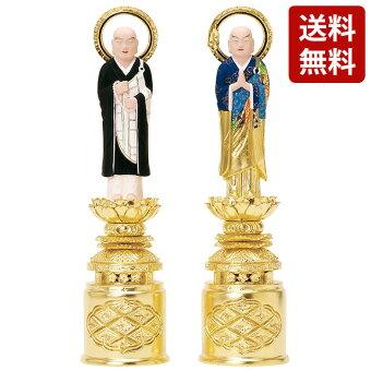 仏像総木製純金箔京型彩色両大師吹蓮華3.5寸〜6.0寸