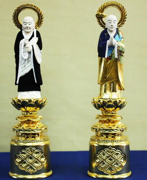 【浄土宗】 仏像 総木製 純金箔 京型彩色 両大師 (法然上人 善導大師) 吹蓮華 3.5寸:仏壇職人関工作所