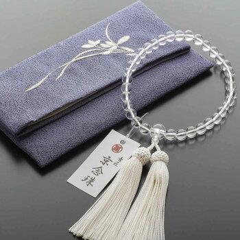 数珠女性用数珠セット本水晶8mm玉&数珠袋(鉄色/細葉)