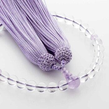 数珠女性用数珠セット本水晶8mm玉&数珠袋(赤紫)