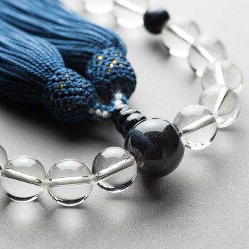 数珠・水晶22玉青虎目仕立頭付正絹房