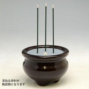 火を使わない 安全 な 電子線香 三本立 電子せんこう 3本立(3寸) 陶器製香炉付 茶色 乾電池式 ...