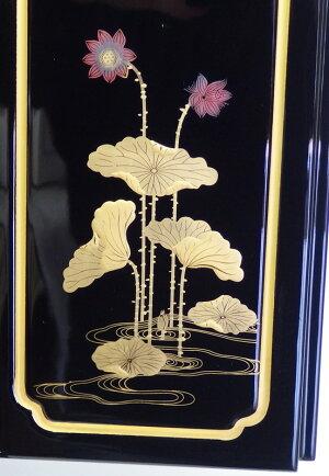 仏壇上置ミニ仏壇金蓮華18号『戸裏蒔絵入』塗豆仏壇二枚戸