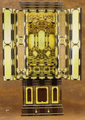 【三河型うねり欄間御坊様屋根】20号金箔仏壇仏具一式付