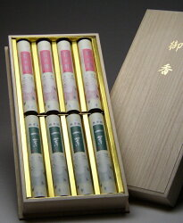 線香御進物用桐箱入★♪2種類の香りを楽しめる『花の旅・一葉』高級感・ボリューム感のある贈答用線香