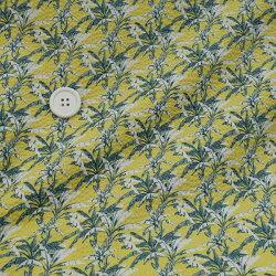 リップル生地アロハシャツ甚平ヤシの木柄ひよこ色110cm幅50cm単位はかり売り布生地