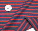 ニット生地 ボーダー18/2天竺太いボーダーネービー/レッドボーダー Tシャツ50cm単位 はかり売り手芸tシャツ