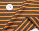 ニット生地 ボーダー18/2天竺太いボーダーブラウン/オレンジ ボーダー Tシャツコットン50cm単位 はかり売り手芸クラフトtシャツ