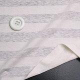 ニット生地     透け感のある透かし編み ボーダー 生成り ソーピング涼しい リネン 混 天竺ボーダー 50cm単位 はかり売り 手芸   tシャツ