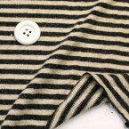 ニット生地     ふんわり 暖かウール天竺 ロンドンボーダー黒/ベージュ杢ボーダーTシャツ  50cm単位 はかり売り 手芸   tシャツ