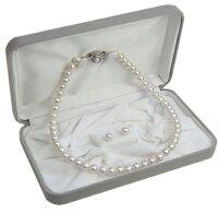 【対応】オリジナル日本製国産・パールネックレス/ピアスイヤリング付セット(ケース付き)あこや花珠真珠の様な天然貝核本貝パール真珠ネックレス