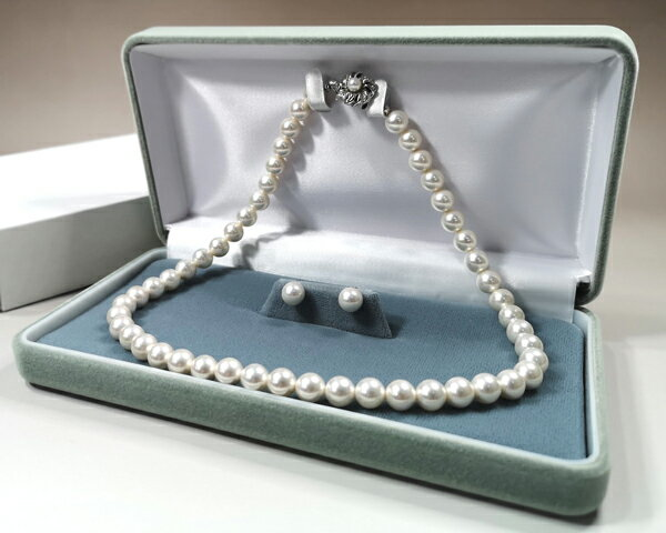 パールネックレス日本製国産8mm珠ピアスイヤリングセット花珠級天然貝核本貝パール真珠ネックレス(フォーマル結婚式卒業式入学式