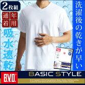 【メール便専用・送料無料】「期間限定さらに値下げ+お買得な2枚組+吸水速乾」B.V.D. BASIC STYLE 浅Vネック半袖Tシャツ 無地 tシャツ 白シャツ メンズ シャツ