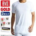 B.V.D.GOLD 丸首半袖シャツ 2枚セット S,M,L  BVD 【綿100%】 シャツ インナーシャツ メンズ下着 無地 tシャツ 白シャツ メンズ シャツ【白】 【コンビニ受取対応商品】 g013-2p