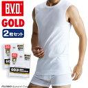 2枚組セット!B.V.D. GOLD スリーブレス 5L BVD 【綿100%】 シャツ メンズ インナーシャツ ノースリーブ 下着 肌着【白】 大きいサイズ メンズ 【コ