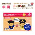 中国・香港/マカオ【ChinaUnicom】データ通信プリペイドSIMカード(4Gデータ通信・8日/7GB)