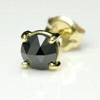 メンズピアスk18ゴールドブラックダイヤ