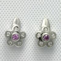 ピンクサファイヤ&ダイヤモンドK18WGピアスTOTAL0.18ct【送料無料】【ホワイトゴールド】【フラワー】