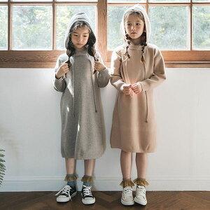 子供服 フード付き ニット ワンピース こども かわいい おしゃれ オシャレ 可愛い 子ども キッズ ジュニア ガールズ 女の子 小学生 ファッション 110cm 120cm 130cm 140cm 150cm