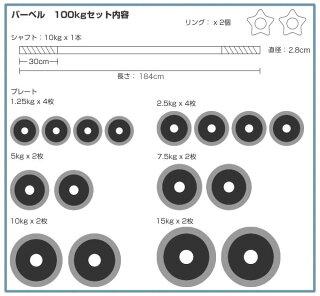 【送料無料】ラバー付きバーベルセット100kg【HLS_DU】【RCP】