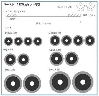 【送料無料】ラバー付きバーベルセット120kg【HLS_DU】【RCP】