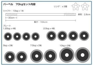 【送料無料】ラバー付きバーベルセット70kg【HLS_DU】【RCP】