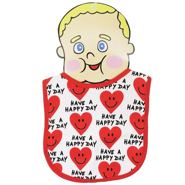 【メール便可】BABY BIB HEART SMILE RED【 赤ちゃん 赤ん坊 よだれかけ 綿素材 雑貨 日用品 】