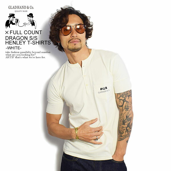 トップス, Tシャツ・カットソー  x T GLAD HAND x FULLCOUNT DRAGON - SS HENLEY T-SHIRTS -WHITE-