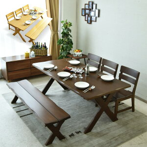 【送料無料】ダイニングテーブルセット 幅180 5点セット 無垢 木製 アメリカンカントリー ダイニングセット 6人掛け 食卓セット 180ダイニングテーブル ダイニングチェアー 椅子 シンプル