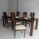 ダイニングテーブルセット ダイニングセット 伸長式 ダイニング 食卓テーブル セット【ダークブラウン・ライトブラウン】 幅150cm〜210cm ダイニング7点セット ダイニングチェア 食卓セット シンプル 6人掛け 6人用 テーブル いす イス 椅子 6脚 木製 無垢 強化ガラス 北欧