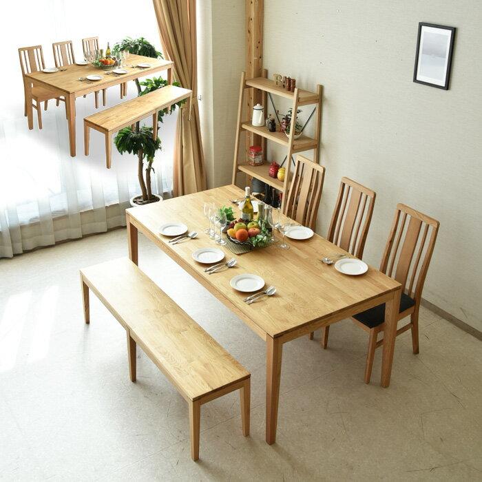 * ダイニングテーブルセット 幅180 5点セット 6人掛け ダイニング5点セット F☆☆☆☆ フォースター 木製 オーク材 ナチュラル 食卓セット ダイニングテーブル ダイニングチェアー モダン 北欧テイストベンチ