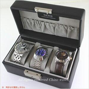 時計アクセサリードイツ製ハンドメイド収納ケース3個用BLACK天然レザー腕時計時計