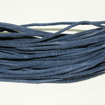 本革 ラフ紐 2mm ネイビーブルー 1M単位の切り売り 皮ひも 青 紺 革紐 皮紐 革ひも レザーコード スウェード ダメージ