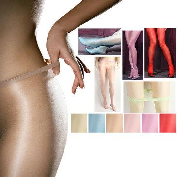 グロスの強いカラーパンスト(ホーザリー) ナイロン ローライズ 切り替えなし オールスルー 光沢パンティストッキング 極薄10デニールのシアータイツ 全6色 ヌード 赤 ライトブルー ピンク パープル 薄緑
