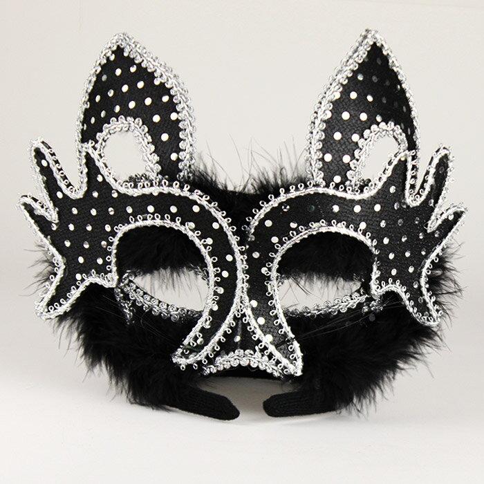 マスク 仮面 ブラック(黒)キャットのハーフマスク ラインストーンと羽付き カチューシャタイプ コスプレ ハロウィン パーティー 衣装 舞台 イベントに! FRM-62455画像