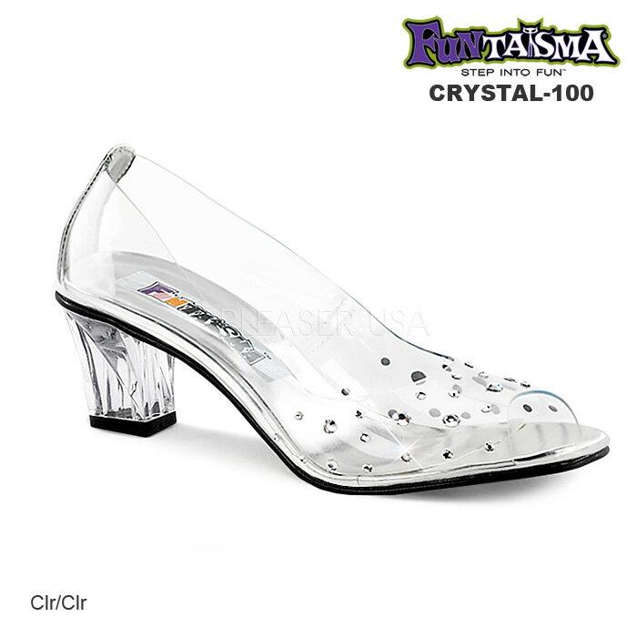 61189bf03589e パンプス ローヒール シンデレラ ガラスの靴 即納 送料無料 Pleaser プリーザー ウェディングシューズ 余興や結婚