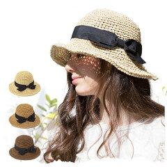 ★【クーポン利用で100円引き】 帽子 / 麦わら帽子 / 選べる3色♪親子でかぶれる可愛いリボンの...