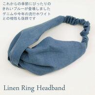 【NEW】ヘアアクセサリー*リネンターバン*リングヘアーバンド【ブルー】