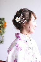 シャンパンゴールドの髪飾り【2本セット】マットで落ち着いた金の実と葉の髪飾り。花飾りに付け足すだけで華やかに【卒業式】【袴スタイル】【着物スタイル】【結婚式】