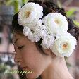 ラナンキュラス【白】お得な3本セット。コロンとまあるい白い花。アレンジしやすいワイヤー付き!