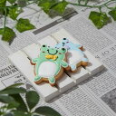かわいいカエルの形のパステルカラーのクッキー
