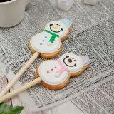クリスマスのプチギフトに【クッキーポップ 雪だるま】アイシングクッキー クリスマス プチギフト かわいい お菓子