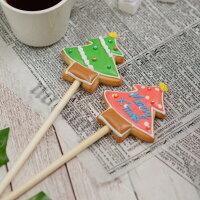 クリスマスのプチギフトに【クッキーポップ ツリー】アイシングクッキー クリスマス プチギフト 名入れ 文字入れ かわいい お菓子