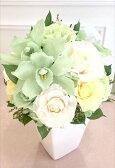 【送料無料】プリザーブドフラワー ランとバラのモダンポッド お祝い 送別 お見舞い お供え花