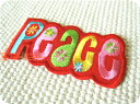 Peaceロゴ(L)RD/花/フラワー/レゲエ/ヒッピー/ヒップホップ/ピース/女の子/男の子/入園/入学/文字/大人/ハンドメイド/雑貨/刺繍ワッペン/アイロン接着/リメイク/デコ/アップリケ/CaJu+NiC[カジュニック]【ワッペンのみ!メール便送料無料☆】