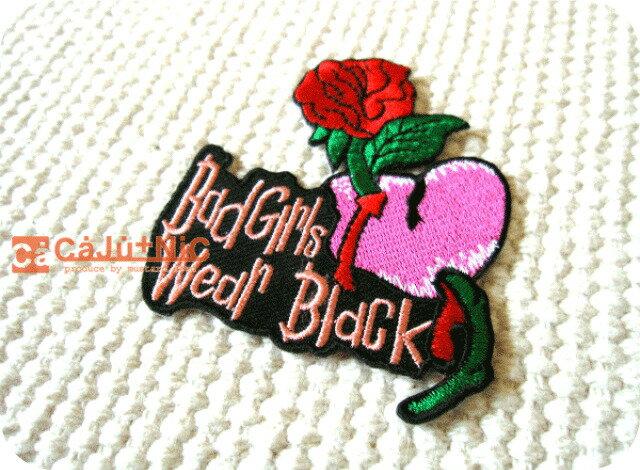 裁縫材料, ワッペン・アップリケ Bad Girls Wear BlackCaJuNiC!