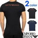 EMPORIO ARMANI エンポリオアルマーニ メンズ Vネック スリムフィット ロゴ 半袖 Tシャツ イーグルマーク ブラック ネイビー S M L XL おしゃれ ブランド 大きいサイズ [あす楽][1108109p723]
