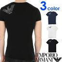 EMPORIO ARMANI エンポリオアルマーニ メンズ Vネック スリムフィット ロゴ 半袖 Tシャツ イーグルマーク ホワイト ブラック ネイビー S M L XL おしゃれ ブランド 大きいサイズ [あす楽][1108109p745]