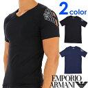 EMPORIO ARMANI エンポリオアルマーニ メンズ Vネック スリムフィット ロゴ 半袖Tシャツ イーグルマーク ブラック ネイビー S M L XL おしゃれ ブランド 大きいサイズ [あす楽][1117608a725]